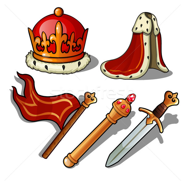 The attributes of the king. Crown, mantle, banner, scepter, and sword. Vector illustration. Stock photo © Lady-Luck