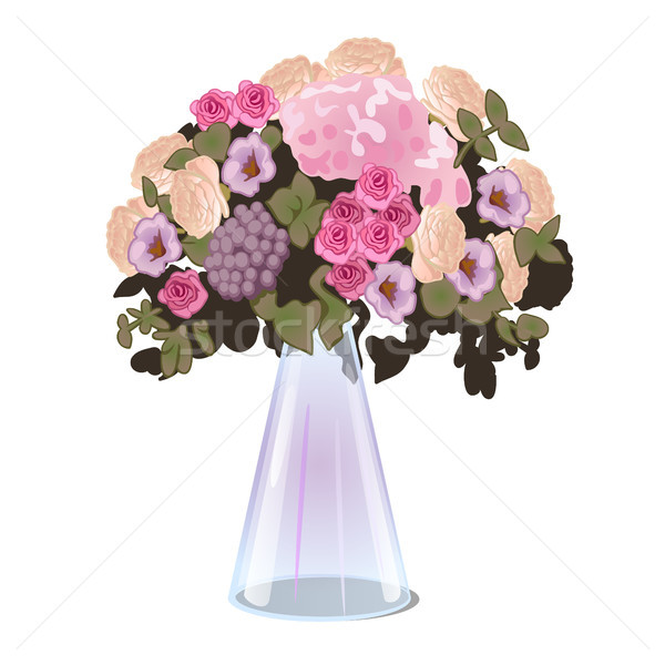 Fresh cut flowers in a glass conical vase isolated on white background. Vector illustration. Stock photo © Lady-Luck