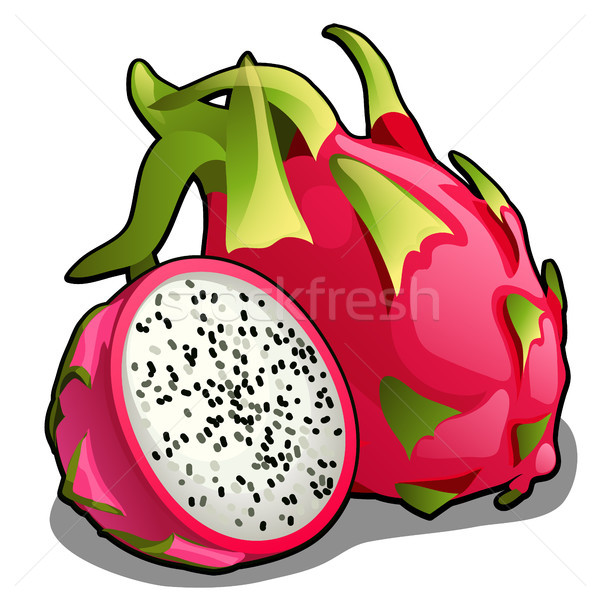 Set of whole and half of ripe pitahaya fruit or Hylocereus undatus, Dragon fruit. Element of a healt Stock photo © Lady-Luck