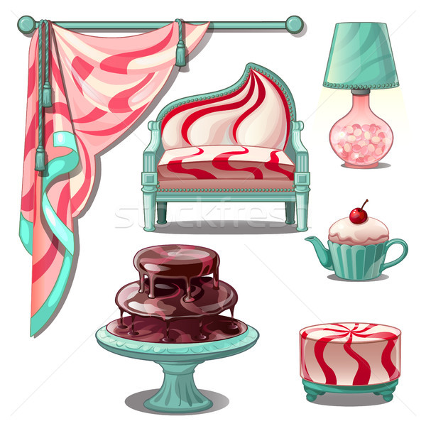 Interior and bright furniture in style sweets and confectionery. Vector illustration. Stock photo © Lady-Luck
