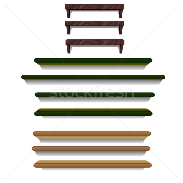 A set of wall shelves isolated on white background. Vector cartoon close-up illustration. Stock photo © Lady-Luck