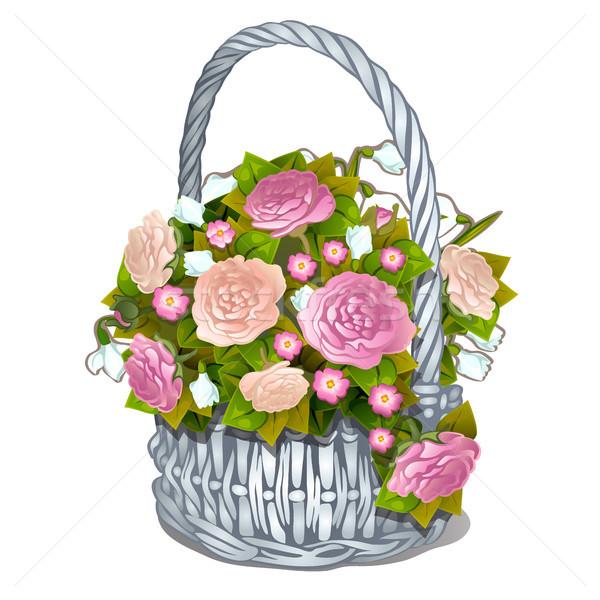 Vintage корзины цветы изолированный белый вектора Сток-фото © Lady-Luck