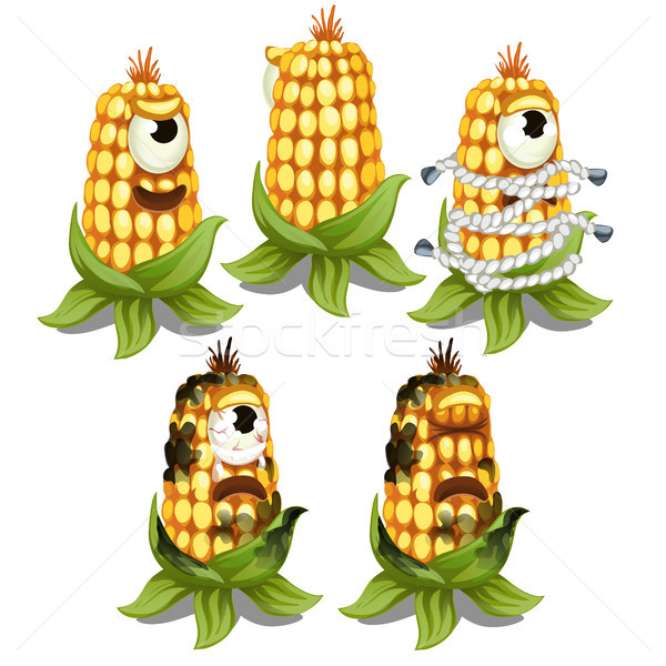 Trapped fancy monster in the form of an one-eyed decaying cob of corn isolated on a white background Stock photo © Lady-Luck