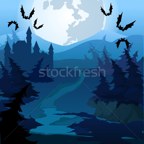 The path through the enchanted forest at night. Vector cartoon close-up illustration. Stock photo © Lady-Luck