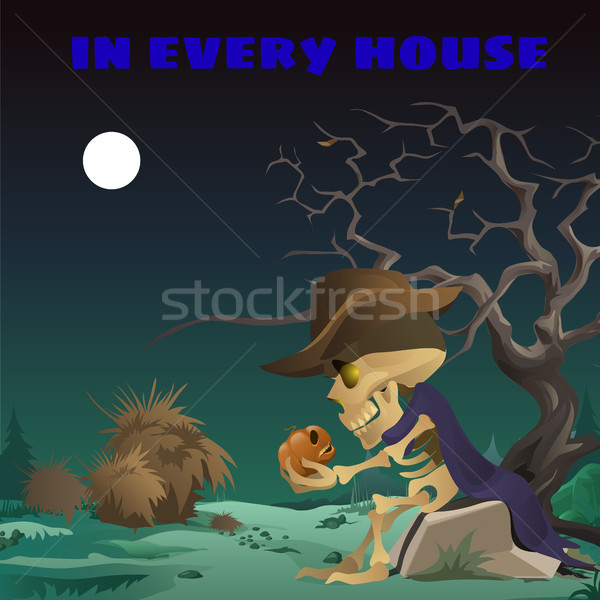 Poster in wild West style on the holiday all evil Halloween. The skeleton of a man in a hat sitting  Stock photo © Lady-Luck