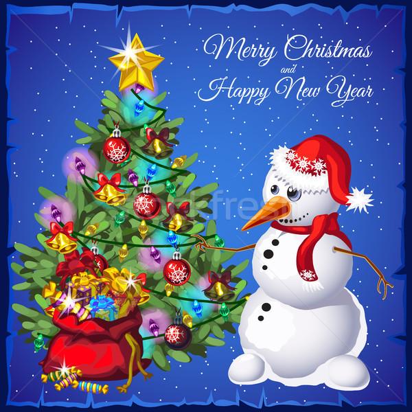 şablon kardan adam noel ağacı hediyeler sanat Stok fotoğraf © Lady-Luck