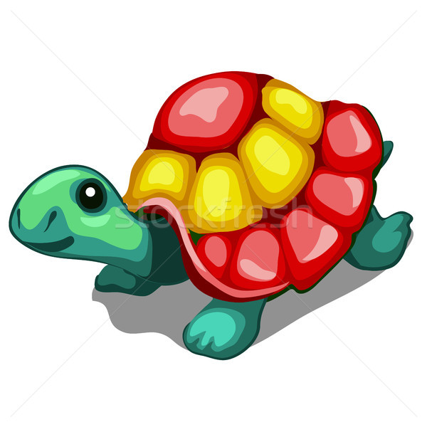 Brightly painted figurine of a turtle isolated on a white background. Vector cartoon close-up illust Stock photo © Lady-Luck