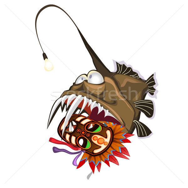 Fish an angler holds in the teeth an ancient tribal mask. Animals of the deep sea is isolated on a w Stock photo © Lady-Luck