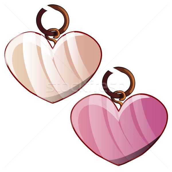 Kettő forma szív izolált fehér ékszerek Stock fotó © Lady-Luck
