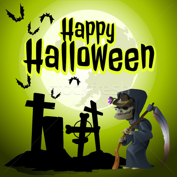 A poster on the theme of the Halloween holiday. The grim Reaper came to an old abandoned cemetery. V Stock photo © Lady-Luck