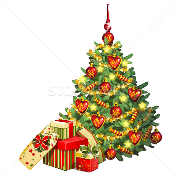 Sketch with brightly decorated Christmas tree. A bunch of boxes with gifts. Sample of the poster, in Stock photo © Lady-Luck
