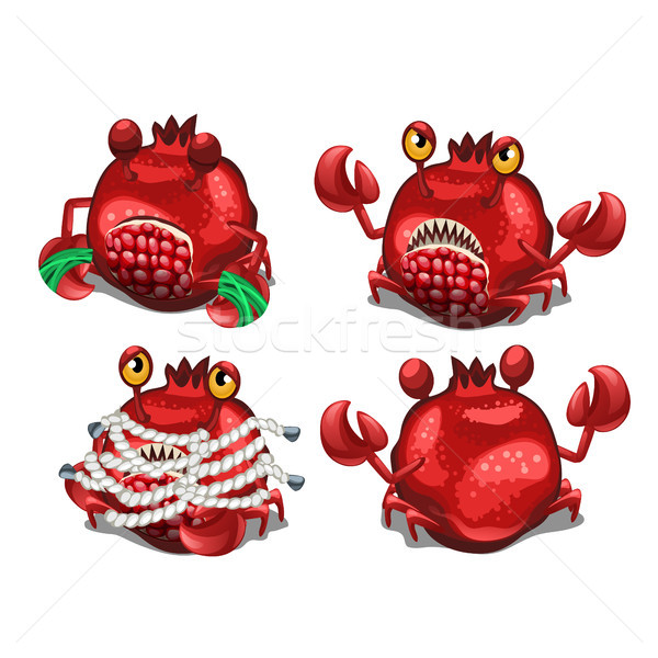 Trapped fancy monster in the form of a crab disguised in a pomegranate isolated on a white backgroun Stock photo © Lady-Luck