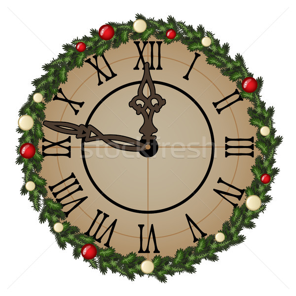 Vintage wall clock with ornate dial of tree branches with balls and baubles isolated on white. Sampl Stock photo © Lady-Luck