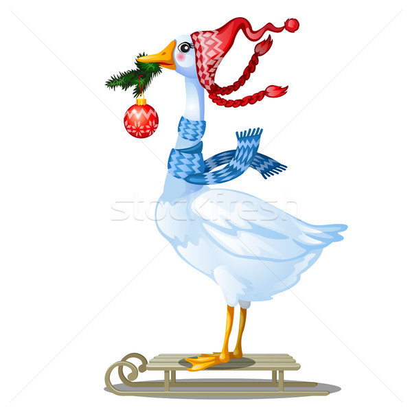 Cute animated goose in knitted winter cap with pompom holding in its beak a twig of fir with a glass Stock photo © Lady-Luck