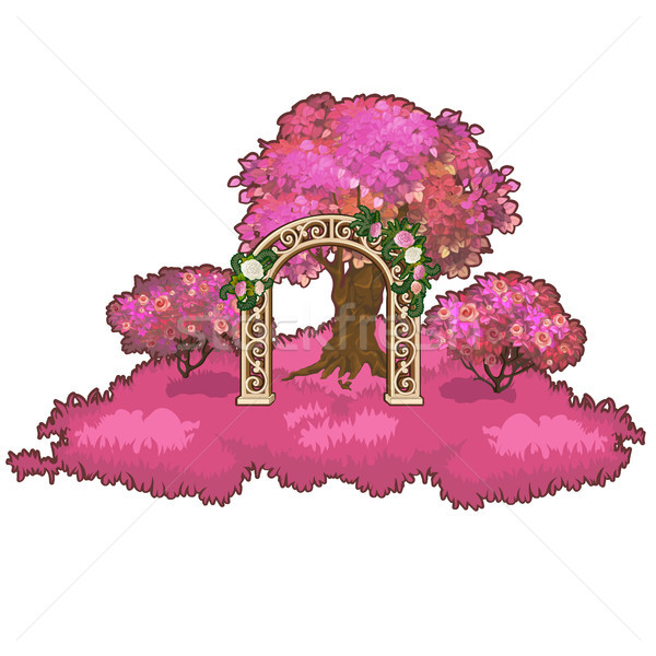 Ornate archway in the pink forest. Vector illustration. Stock photo © Lady-Luck