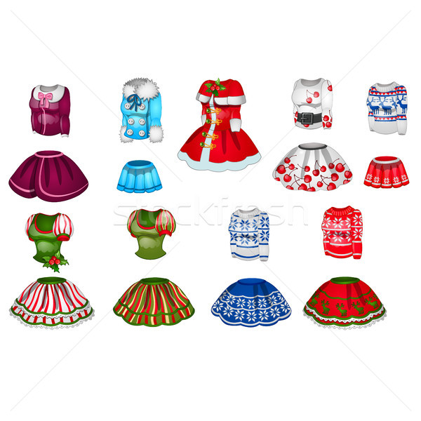 The set of elements of female clothes isolated on white background. Vector illustration. Stock photo © Lady-Luck
