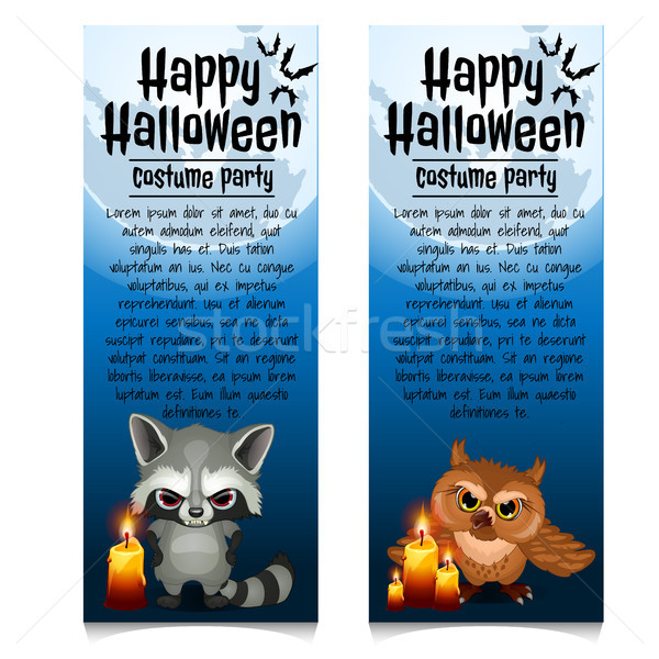 Two vertical cards on the theme of the Halloween holiday. Vector illustration. Stock photo © Lady-Luck