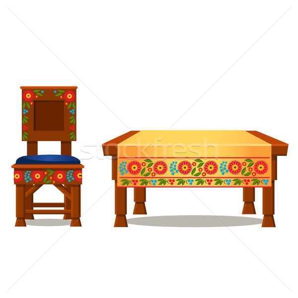 Wooden chair with upholstery and table with tablecloth with traditional Russian ornament isolated on Stock photo © Lady-Luck