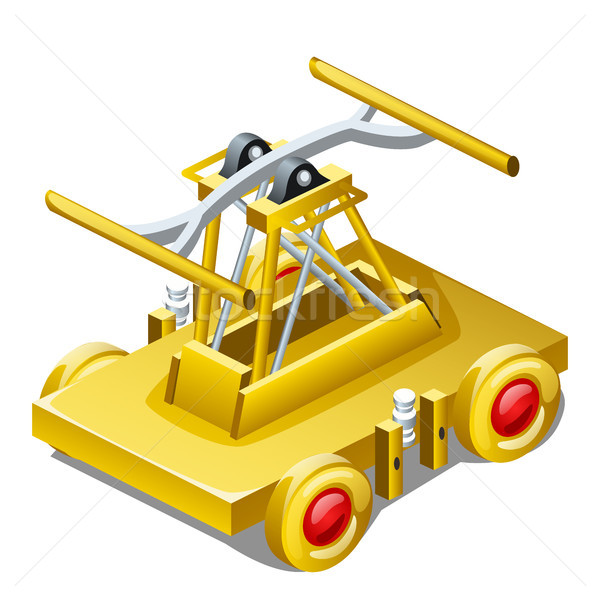 Table souvenir in the form of draisine or handcar made of gold isolated on white background closeup. Stock photo © Lady-Luck