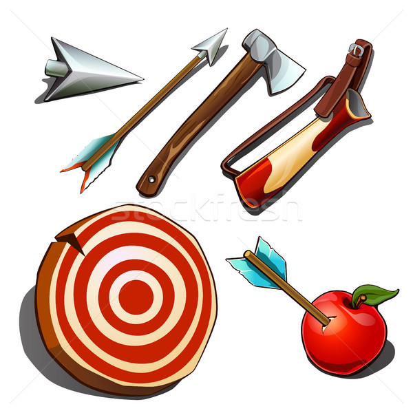 Set of subjects for competitions on accuracy isolated on white background. Vector cartoon close-up i Stock photo © Lady-Luck