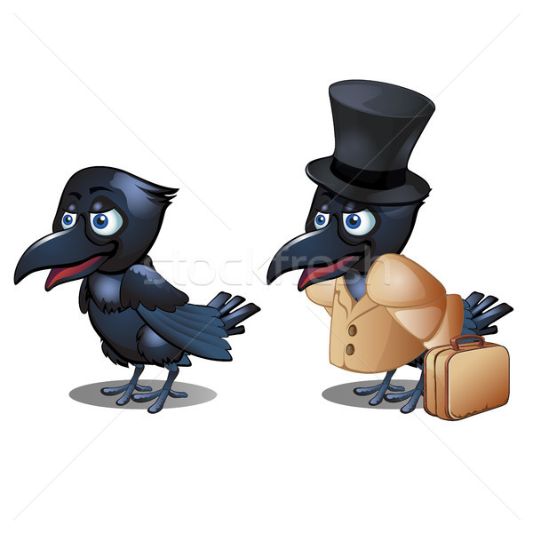 The Raven in the clothing with suitcase and hat cylinder isolated on white background. Vector cartoo Stock photo © Lady-Luck