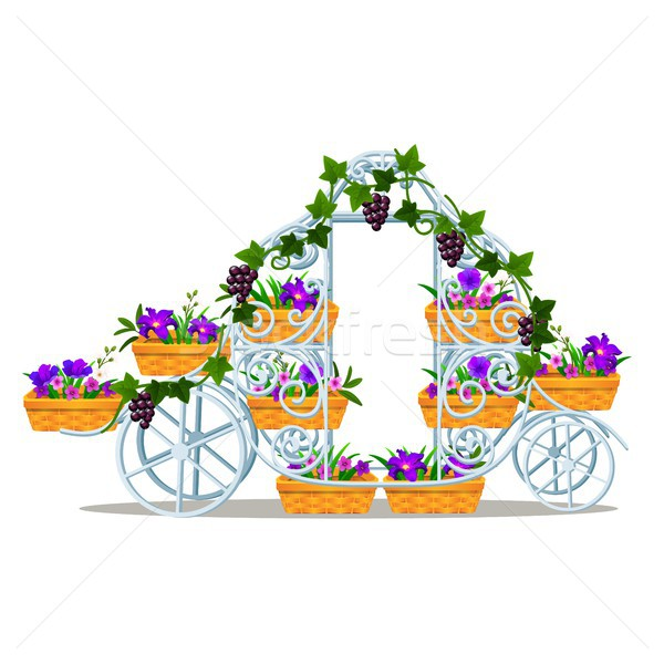 Garden forged rack in the form of a vintage coach with baskets of flowers isolated on white backgrou Stock photo © Lady-Luck