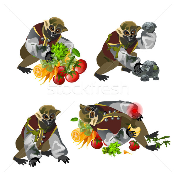Set fantasy zombie monkey isolated on white background. Vector cartoon close-up illustration. Stock photo © Lady-Luck