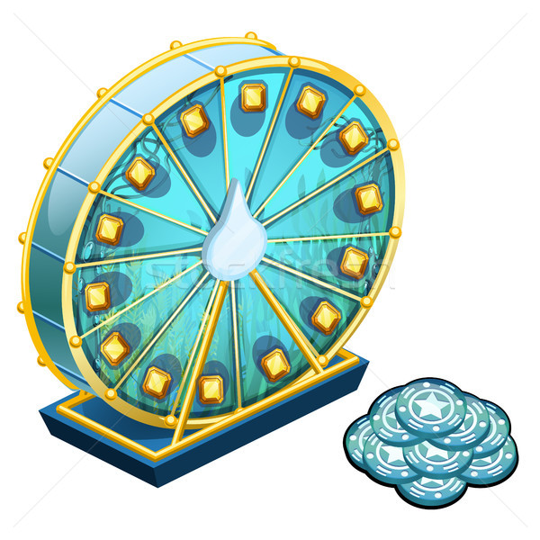 The wheel of fortune with texture of seaweed and blue chips isolated on a white background. Vector i Stock photo © Lady-Luck