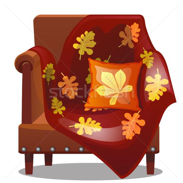 Meubels stijl vallen zachte stoel deken Stockfoto © Lady-Luck
