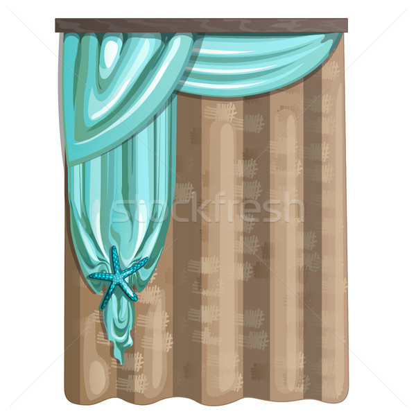 Curtain of burlap and fabric in turquoise color with decorations in the form of a starfish. Ideas fo Stock photo © Lady-Luck
