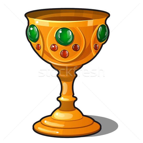 Golden goblet encrusted with precious stones isolated on a white background. Vector illustration. Stock photo © Lady-Luck