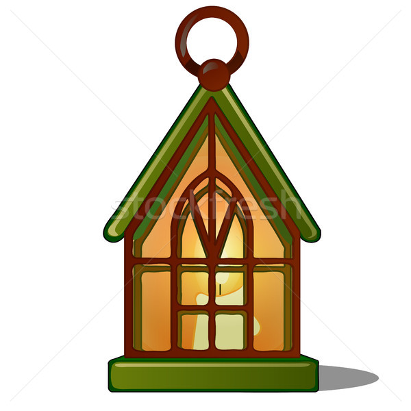 The lamp in the shape of the house with a candle. Sketch for greeting card, festive poster or party  Stock photo © Lady-Luck