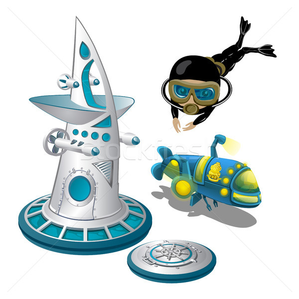 Underwater research station and the scuba diver isolated on white background. Equipment for the stud Stock photo © Lady-Luck