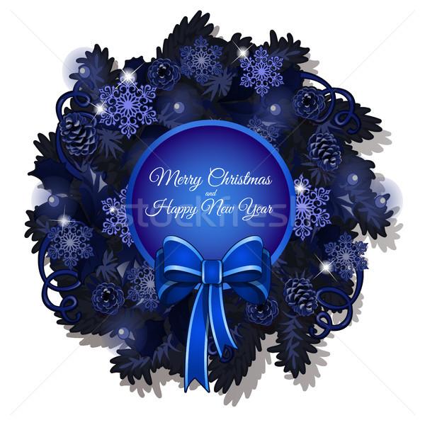 Natal esboço coroa azul cor espaço Foto stock © Lady-Luck