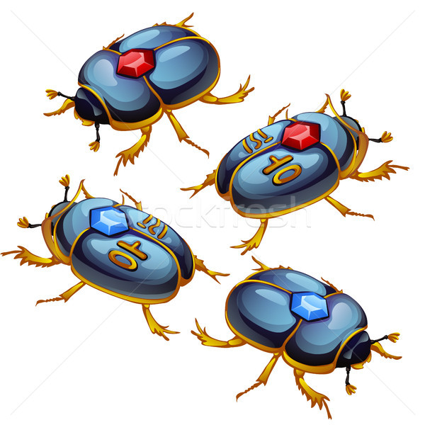 A set of figures of beetles scarabs with Golden feet and encrusted with precious stones isolated on  Stock photo © Lady-Luck