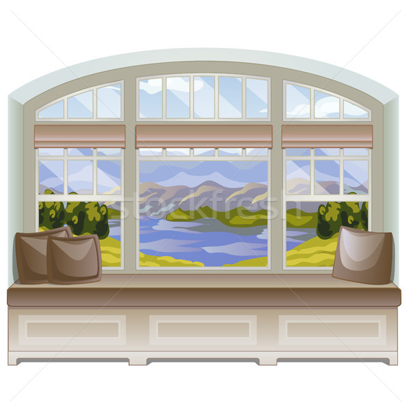 A cozy place for leisure activities or reading books by the windowsill with a view of the mountains  Stock photo © Lady-Luck