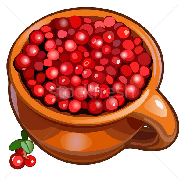 Brown ceramic mug filled with fresh red ripe cranberries or cowberries isolated on a white backgroun Stock photo © Lady-Luck