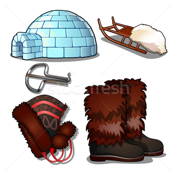 The set of items of culture and life of the people of the far North and of the Inuit, isolated on wh Stock photo © Lady-Luck