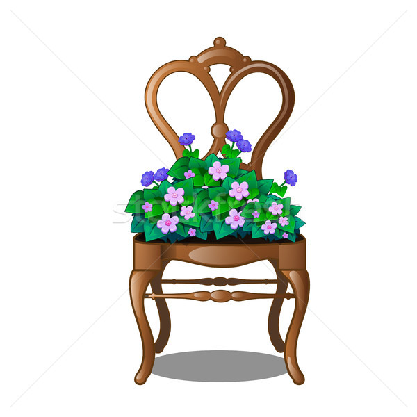 Vintage wooden chair with flowers. Vector illustration. Stock photo © Lady-Luck