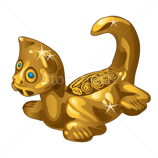 Stock photo: Golden ethnic figurine cat isolated on white background. Vector illustration.