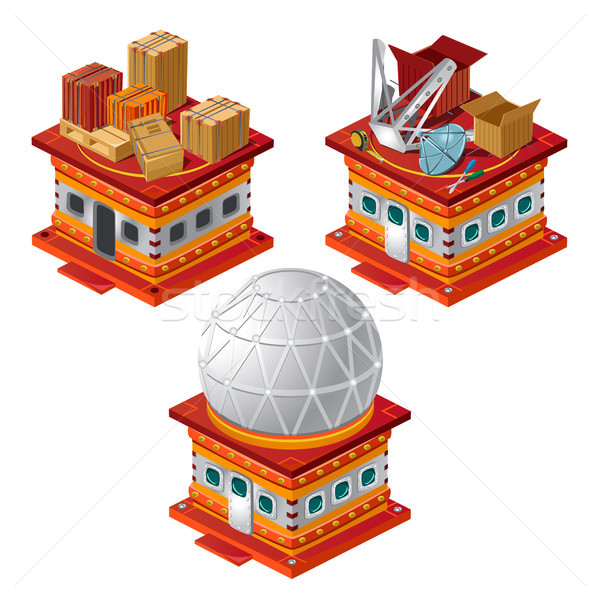 Set of stages of construction of the Observatory is isolated on a white background. Vector cartoon c Stock photo © Lady-Luck