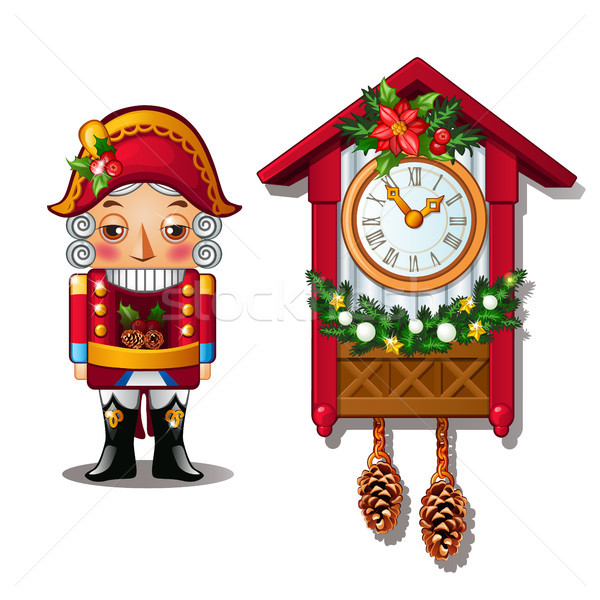 The Nutcracker and the antique cuckoo clock isolated on a white background. Vector illustration. Stock photo © Lady-Luck