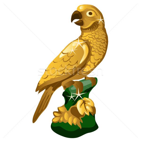Arany szobor papagáj izolált fehér vektor Stock fotó © Lady-Luck