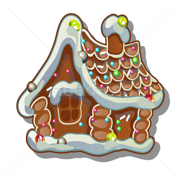 Cartoon rustic wooden house in winter. Gingerbread house. Sketch for greeting card, festive poster o Stock photo © Lady-Luck