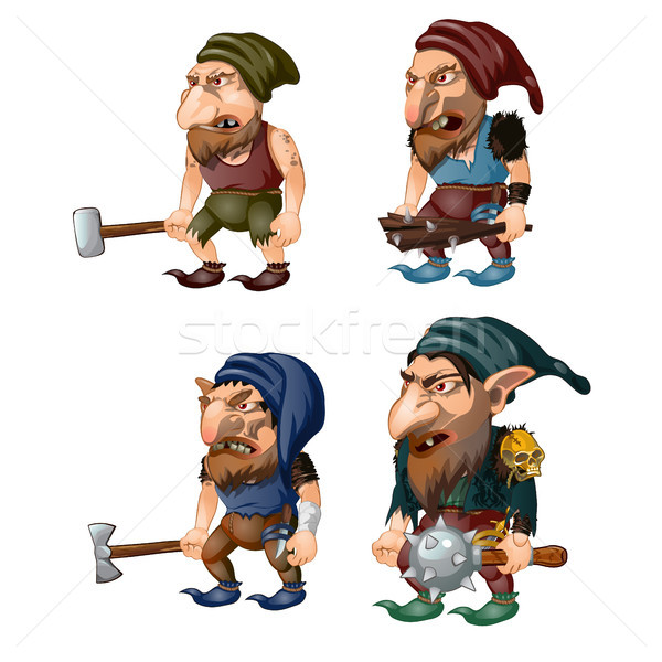 Stock photo: Set of goblins with a bludgeon, axe, hammer and club. Fantastic inhabitants of the forest. Vector il