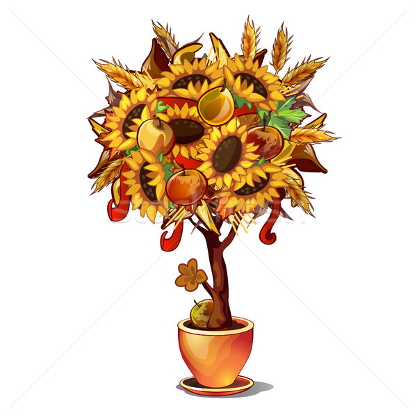 Ornamental tree a symbol of thanksgiving day isolated on white background. Vector cartoon close-up i Stock photo © Lady-Luck