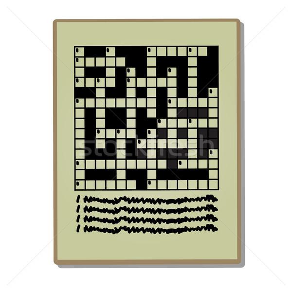 Gazety strona krzyżówka puzzle odizolowany biały Zdjęcia stock © Lady-Luck