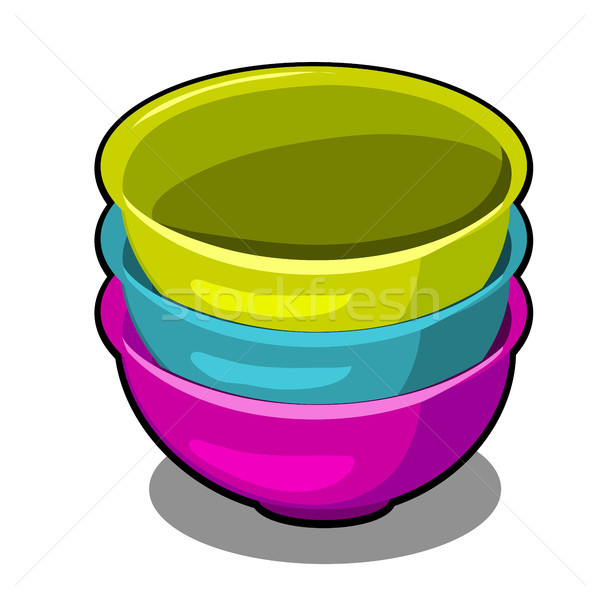 A stack of polymer bowls of different colors isolated on a white background. Cartoon vector close-up Stock photo © Lady-Luck