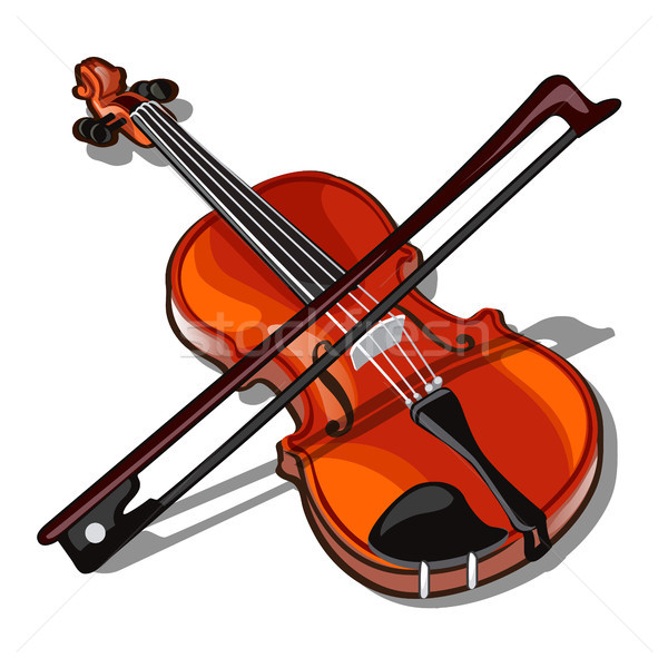 Violin and bow isolated on white background. Wooden stringed musical instrument. Vector illustration Stock photo © Lady-Luck