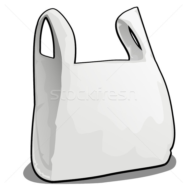A plastic bag of white color isolated on white background. Vector cartoon close-up illustration. Stock photo © Lady-Luck